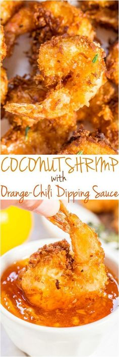 Coconut Shrimp with Orange-Chili Dipping Sauce - Plump, juicy shrimp with a crispy, crunchy coconut coating!! Fast, easy, and better than you get in restaurants! Will be your new favorite shrimp recipe!! #seafoodrecipes