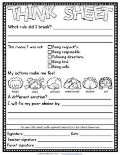 Think-Sheets-to-Help-Kids-Think-About-Their-Actions-1971051 Teaching Resources - TeachersPayTeachers.com