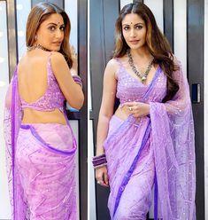 Indian Bridal Outfits, Indian Fashion Dresses, Lehnga Dress, Saree Blouse, Sari, Netted Blouse Designs, Velvet Dress Designs, Purple Saree, Backless Gown
