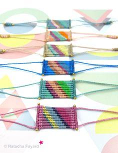 Multicolor micro macrame bracelet, with miyuki delica seed beads - stripe patterns. 6 colors available. © Natacha Fayard #bracelet #macrame #micromacrame #stripe #multicolor #ss2017 #miyuki #delica #gold #spring #summer #trends #colors #etsy #boho #bohochic #stripe