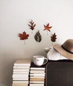 Books, coffee mug, and autumn leaves, my type of decor