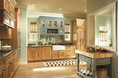 Charming Light Green Kitchen Cabinets Design : Mesmerizing Traditional Kitchen Room Design With Light Wooden Floor And Light Kitchen Cabinet Ideas Knotty Pine Kitchen, Pine Kitchen Cabinets, Painting Kitchen Cabinets White, Kitchen Paint Colors, Kitchen Room Design, Kitchen Cabinet Design, Knotty Alder, Accent Cabinets, Maple Cabinets