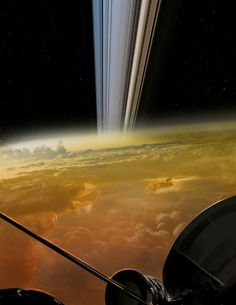 Cassini's last image after falling into Saturn for it's last mission. Isn't it beautiful?