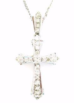 0.50CT Fine Round Diamond Cross Art Deco Style Pendant & Chain 14K White Gold  #Handmade #Pendant