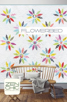 It's if you wake up in a flower meadow: the happy raw edge appliquéd flower, cut from a single Jelly Roll will make you happy every morning. The modern quilt pattern by ZEN CHIC is called FLOWERBED and sewn with her collection HEY DOT for Moda. Download your pattern as a PDF.