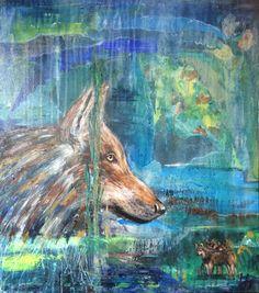 """Wolf"". Acryl mixed technique, 3D canvas 70 X 80 cm.  Te koop / For sale Painted & pinned by Karin Beks. (beks@ziggo.nl)   # painting # schilderij # wolf"
