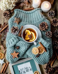 Sweater and tea winter flatlay