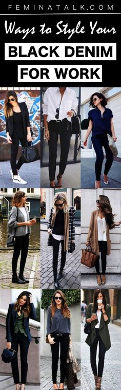 #BlackDenimOutfits || Ways To Style Your Black Denim For Work || Casual Work Outfits || Work Outfits to wear to Office || Business Outfits for Women || Black Denim Outfits Ideas