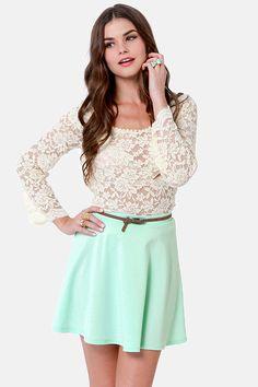 Cute Mint Blue Skirt - Mini Skirt - Skater Skirt - $25.00