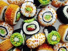 Two things I love. Knitting and sushi!!