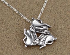 Chasing Hares Pendant Three Hares Tinner's by SilverspotStudio