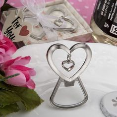 40 Silver Love Heart Charm Bottle Opener Wedding Shower Bridal Party Gift Favors
