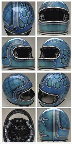 Chemical Candy Customs: Refurbished Helmets. Chopper Helmets, Womens Motorcycle Helmets, Motorcycle Girls, Cool Motorcycles, Victory Motorcycles, Vintage Motorcycles, Custom Motorcycle Paint Jobs, Ducati Monster Custom, Harley Gear