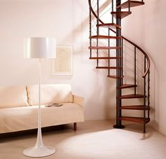 GENIUS WIRE SPIRAL STAIR - Bespoke range with wooden handrail various colour and balustrade styles