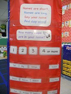 syllables in class names Kindergarten Names, Preschool Names, Name Activities, Preschool Learning, Early Learning, Classroom Fun, Classroom Activities, English Classroom, Future Classroom