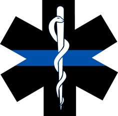 "Thin Blue Line Decal EMS Star of Life Decal 4"" x 4"" EMT Exterior Window Decal picclick.com"