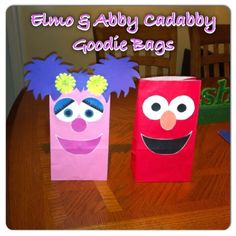Preschool: Birthday Party Favors: Elmo and Abby Cadabby Treat Bags! Second Birthday Ideas, Baby Girl 1st Birthday, Elmo Birthday, Birthday Party Favors, 2nd Birthday Parties, Elmo Party, Sesame Street Birthday, Happy 1st Birthdays, Abby Cadabby