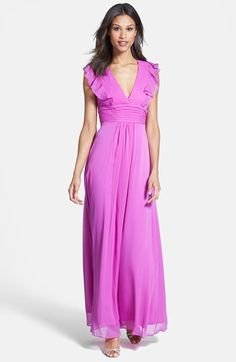 Jessica Simpson Ruffled Open Back Chiffon Maxi Dress available at #Nordstrom