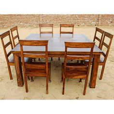 Rustic 9 PC Square Dining Room Table FOR 8 Person Seat Chairs SET Furniture  NEW |