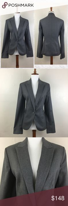 "Anne Klein Pinstripe 1 Button Stretch Blazer *NWOT. Never worn/washed. Like new condition with no retail tags.  *Gray with thin lighter pinstripe *1 Button *2 faux front pockets *4 Button sleeve *Shell: 94% Polyester 5% Rayon 1% Spandex *Lining: 100% Acetate *Care: Dry clean *Thin shoulder pads *Measurements are approx & taken lying flat with jacket buttoned *Sleeves 26"" *Bust 38"" *Waist across the Button 35"" *Shoulder to hem 24"" *Across back shoulder seams 16"" *Stored in non-smoking pet…"