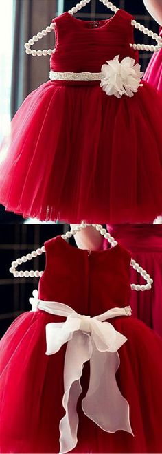 Lovely Ball Gown Jewel Neckline Flower Girl Dresses with Flower Embellished Sash