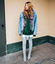 Grey skinny jeans . Jumper . Scarf . Coat