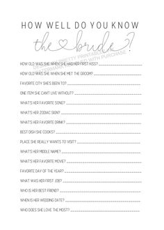 Bridal Shower Game, How Well Do You Know the Bride Printable | by Pretty Printables Ink on Etsy. This fun instant download bridal shower game will show how well guests know the bride! The person with the most correct wins #bridalshowergame #bridalshoweractivity #bridequiz #howwelldoyouknowthebride #bridalquiz #bridalshowerideas #bridalshower #printable