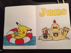 June 2018 Cover Page #bulletjournal #bujo #june #coverpage #pikachu