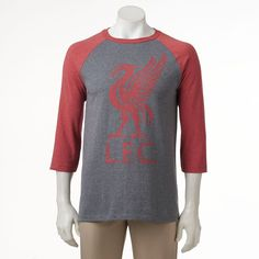 Men's Liverpool FC Raglan Logo Tee, Size: Small, Red/Coppr (Rust/Coppr)