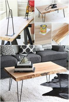 Learn how to build a DIY coffee table? Check our 50 free DIY coffee table plans to build a coffee table for your living room, farmhouse, indoor & outdoor. Diy Coffee Table Plans, Simple Coffee Table, Rustic Coffee Tables, Coffee Table Design, Easy Coffee, Hair Pin Coffee Table, Hair Pin Legs Table, Metal Wood Coffee Table, Hairpin Leg Coffee Table