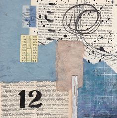 Mixed media collage with vintage papers 12 twelve by Kitty van den Heuvel