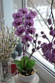 Мобильный LiveInternet Орхидея из бисера. Работы мастера и МК   zhanna-87 - Дневник zhanna-87  