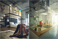Industrial bachelor loft.