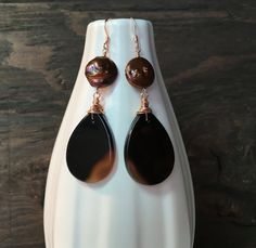 Onyx earrings onyx and pearl earrings by ArtfulHummingbird on Etsy