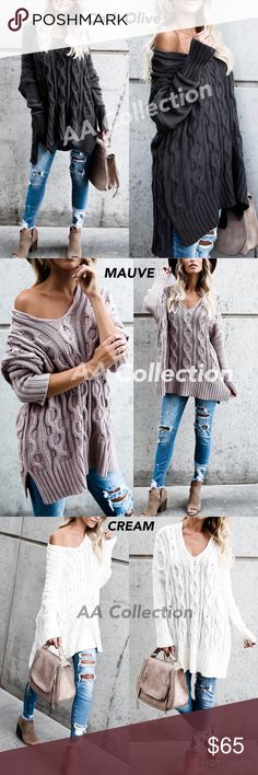 """Oversized loose fit sweater Dark Olive,Cream,Mauve Super comfy Sweater. Oversized, loose fit cotton knit sweater featuring dolman sleeves. Total Length: on """"S/M"""" is 34"""" Fabric content is 100% Cotton Model is 5'7"""", she is wearing a size """"S/ M""""                                                           🌈DARK OLIVE, Mauve  or Cream. 🌈 Tags are""""S/M"""" or """"M/L"""". ‼️ LAST PICTURE SHOWS TRUE COLORS‼️ Sweaters"""