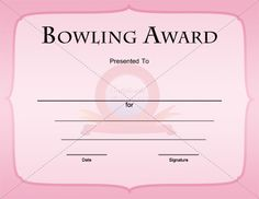 Bowling award template certificate template pinterest bowling award template yadclub Choice Image