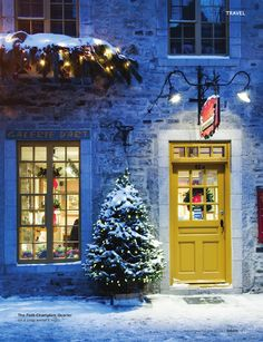 One of the best places in North America to experience European old world charm at Christmas time -Quebec City Christmas In The City, Christmas Scenes, All Things Christmas, Winter Christmas, Christmas Lights, Christmas Time, Christmas Porch, I Love Winter, Hello Winter