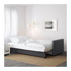 IKEA - FRIHETEN, Sofá-cama de 3 lugares, Skiftebo cinz esc, , Fácil de transformar numa cama.Espaço de arrumação prático e espaçoso por baixo do assento.