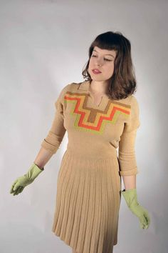 Vintage 1930s Sweater Dress // The Egyptian Tour Dress by FabGabs, $135.00