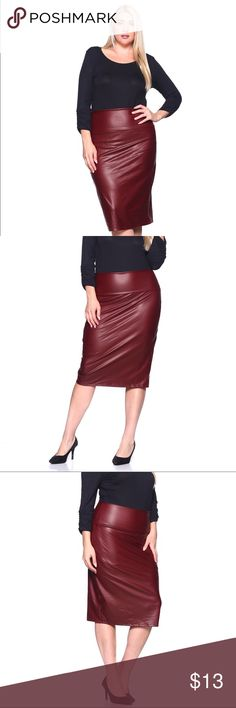 Burgundy Pleather Pencil Skirt Super cute burgundy faux leather pencil skirt ✨ Ships 1-2 business day YES, these are the real pictures of the skirt  Sizes available in REGULAR AND PLUS BRAND NEW merchandise only  MADE IN USA!  Add it to bundle to save more  Skirts Pencil