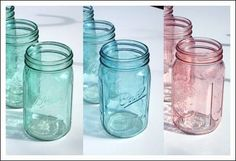 A tutorial on how to make beautiful colored mason jars. Mason jars are a wonderful detail for wedding centerpieces and for highly memorable decorations throughout.