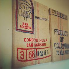 DIY Burlap coffee sack art - this is what I thought about doing in the first place.