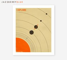 THE SOLAR SYSTEM, Giclee Fine Art Print,  Retro Poster for the Home Decor by JazzberryBlue on Etsy https://www.etsy.com/listing/191757725/the-solar-system-giclee-fine-art-print