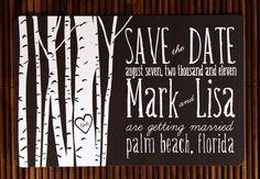 Aspen tree wedding invitation. I'm doing this for sure! <3