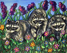 Raccoons in the Garden by Rachelle Dyer