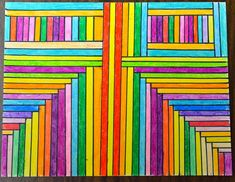 """Parallel & Perpendicular Art: """"When I noticed that quite a few of my students were confused by the terms """"parallel"""" and """"perpendicular,"""" I decided it was time for an end-of-year art activity..."""""""