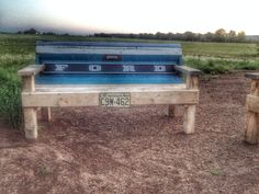 This vintage Ford tailgate bench was built by Teal Death DonUs Part. See current stock at www.etsy.com/shop/tealdeath