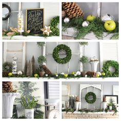 1  mantel, 3 ways: Midwest blogger Courtney Browning shows how to decorate with natural materials such as greens and pinecones: http://www.midwestliving.com/blog/life/3-easy-holiday-mantels/