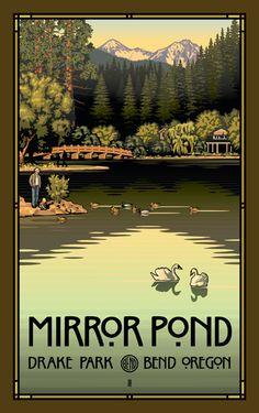 PB-4822 Mirror Pond In Drake Park, Bend Oregon - Northwest Art Mall