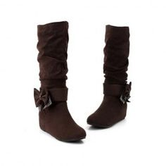 $20.28 Sweet Women's High Boots With Bowknot and Rhinestone Embellished Design
